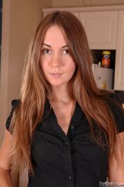 petite brunette posing black