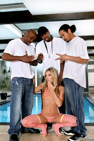 Grey eyed blonde blowing black dicks and enjoying dp while being gang banged by three black guys by the pool - XXXonXXX - Pic 3