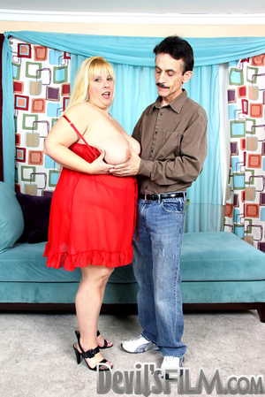Blonde fatty sheds her red lingerie and gets facialized after cock sucking and fucking on the blue couch - XXXonXXX - Pic 6