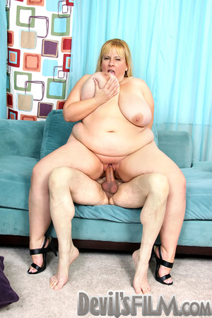 Blonde fatty sheds her red lingerie and gets facialized after cock sucking and fucking on the blue couch - XXXonXXX - Pic 12