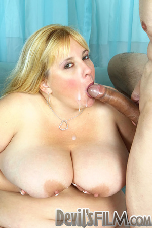 Blonde fatty sheds her red lingerie and gets facialized after cock sucking and fucking on the blue couch - XXXonXXX - Pic 14