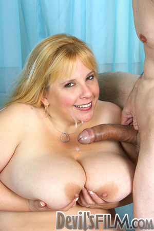 Blonde fatty sheds her red lingerie and gets facialized after cock sucking and fucking on the blue couch - XXXonXXX - Pic 15