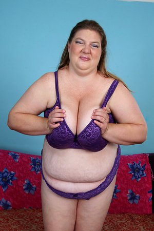 Plump ass fatty wiggles out of purple undies before being ass fucked on the couch and facialized - XXXonXXX - Pic 1