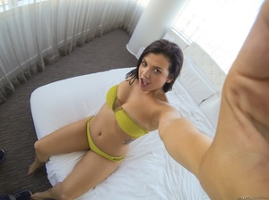 Alluring babe in mustard yellow underwear and a smoking hot chick in multi colored bikini pose their steaming hot bodies befor they takes off their bra and shows their big tits then peels down their panties and lick each others pussies on a white bed. - XXXonXXX - Pic 1