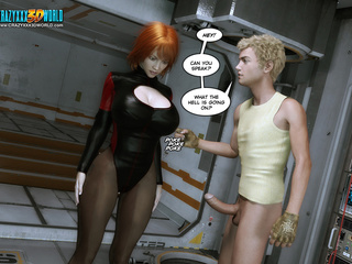 Hot redhead 3d stands around showing her big pink - Picture 1