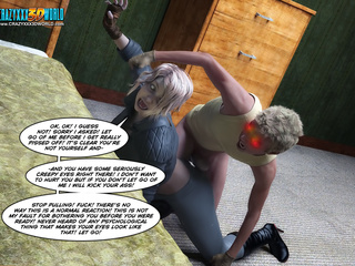 Crazy guy pins a blonde babe and strips her clothing - Picture 2