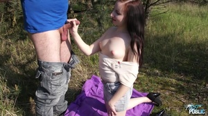 Pale teen in a denim skirt spreads her legs outdoors - XXXonXXX - Pic 4