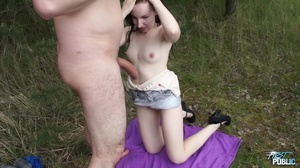 Pale teen in a denim skirt spreads her legs outdoors - XXXonXXX - Pic 14