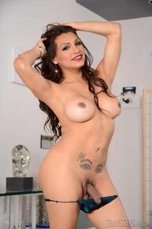 Classy shemale slut peels off her black dress to show her cock - XXXonXXX - Pic 11