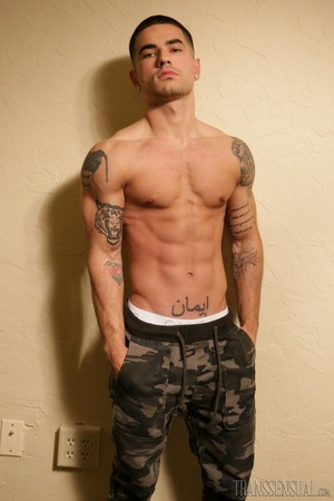 Hot guy in a camo pants gets naked to show his amazing package - XXXonXXX - Pic 5