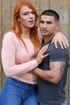 Tall ginger shemale flirts with her boyfriend in a photoshoot