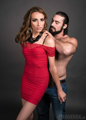 Hot shemale fox in a red dress gets a handsome buff - XXXonXXX - Pic 3