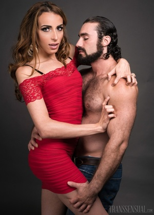 Hot shemale fox in a red dress gets a handsome buff - XXXonXXX - Pic 5