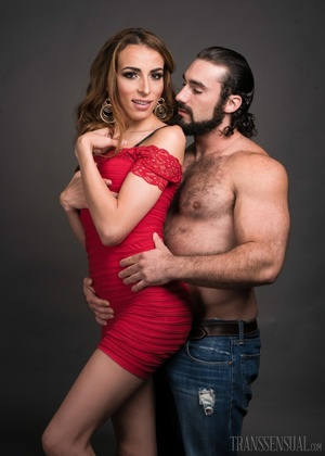 Hot shemale fox in a red dress gets a handsome buff - XXXonXXX - Pic 7