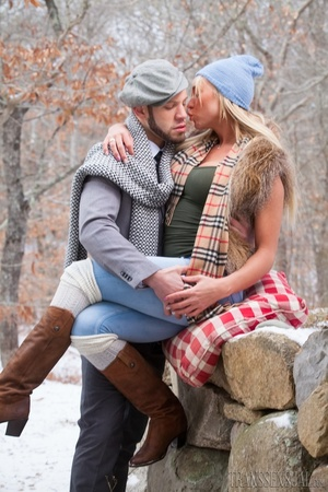 Cute blonde trans enjoys a sweet time with boyfriend outdoors - XXXonXXX - Pic 14