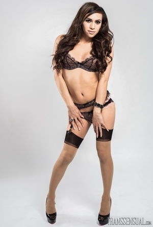 Sultry shemale in a full black lingerie poses to show her curves - XXXonXXX - Pic 2