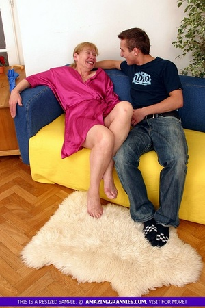 Old blonde babe teases a younger stud wi - XXX Dessert - Picture 5