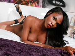 Ebony babe in black strips and plays with her - XXXonXXX - Pic 9