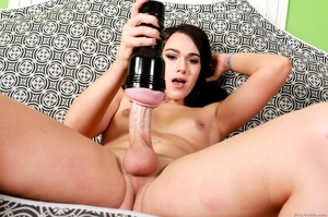 Sexy brunette in lingerie strips and fucks herself with a fleshlight. - XXXonXXX - Pic 7
