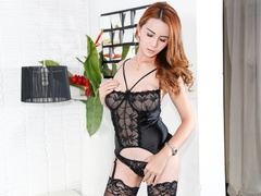 Redhead in lace jerks her cock after a striptease - XXXonXXX - Pic 3
