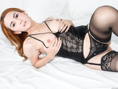 Redhead in lace jerks her cock after a striptease - XXXonXXX - Pic 7