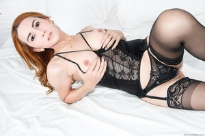 Redhead in lace jerks her cock after a striptease in the bedroom. - XXXonXXX - Pic 7