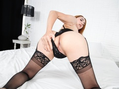 Redhead in lace jerks her cock after a striptease - XXXonXXX - Pic 9