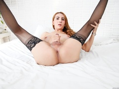Redhead in lace jerks her cock after a striptease - XXXonXXX - Pic 13
