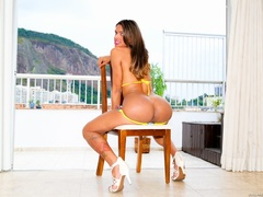 Tanned brunette in bikini shows off her cock by - XXXonXXX - Pic 4