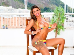 Tanned brunette in bikini shows off her cock by - XXXonXXX - Pic 6