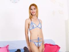 Skinny redhead chick in kinky lingerie teases her - XXXonXXX - Pic 1