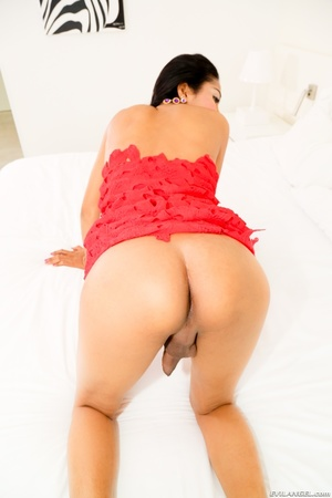 Perky Asian teases her cock under her red dress in the bed. - XXXonXXX - Pic 6