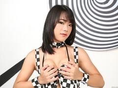 Petite Asian in checkered clothes shows off her - XXXonXXX - Pic 2