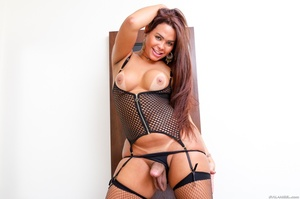 Voluptuous trans in black likes to spread her ass and stroke her dick. - XXXonXXX - Pic 14