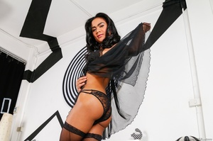 Gorgeous transsexual in black lace teases her curves in the bedroom. - XXXonXXX - Pic 3
