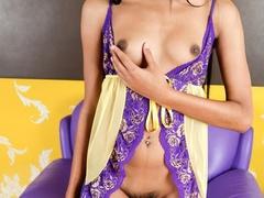 Black-haired tranny in nightgown spreads her - XXXonXXX - Pic 5