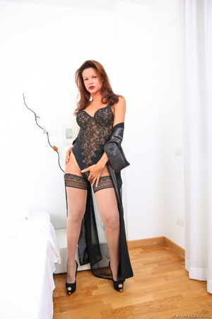 Hot redhead in lace bodysuit strokes her cock over a mirror. - XXXonXXX - Pic 1
