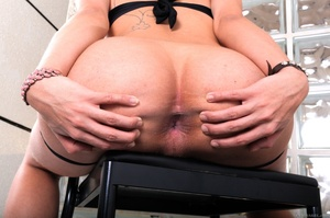 Cute blonde in black spreads her tight ass on a chair. - XXXonXXX - Pic 4