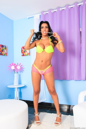 Brunette in yellow lingerie squeezes her tits and slowly strips. - XXXonXXX - Pic 2