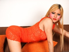Blonde in orange strips naked and shows her curves - XXXonXXX - Pic 4