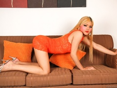 Blonde in orange strips naked and shows her curves - XXXonXXX - Pic 5