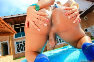 Babe in bikini gets her ass and cock oiled by the pool. - XXXonXXX - Pic 13