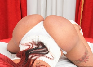 Redhead in white shows off her round ass in the bathroom. - XXXonXXX - Pic 7