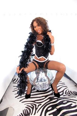 Ebony babe in black gets her dick sucked by two men. - XXXonXXX - Pic 1