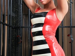 Sexy babe in latex dress shows off her curves in a - XXXonXXX - Pic 7