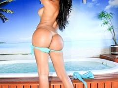 Busty brunette takes off her bikini and oils up - XXXonXXX - Pic 4