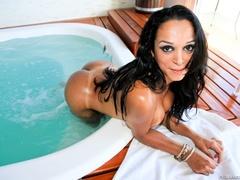 Busty brunette takes off her bikini and oils up - XXXonXXX - Pic 13