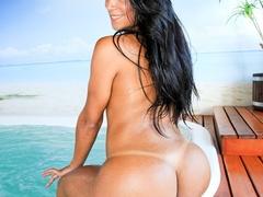 Busty brunette takes off her bikini and oils up - XXXonXXX - Pic 14