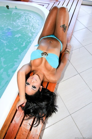 Voluptuous brunette babe in blue bikini teases by the jacuzzi. - XXXonXXX - Pic 8