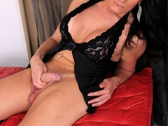 Gorgeous brunette in black strokes her cock by the - XXXonXXX - Pic 8